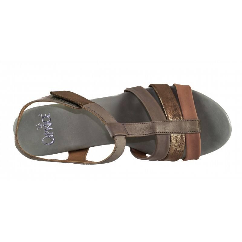 Дамски кожени сандали с холандски ток Caprice сиви комби