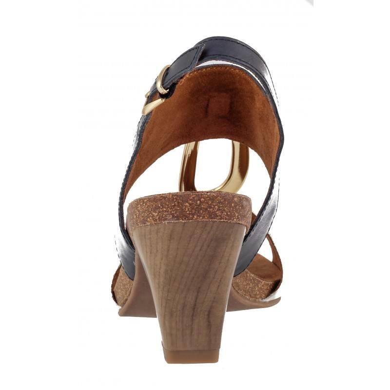 Дамски сандали на ток Caprice естествена кожа бели/сини