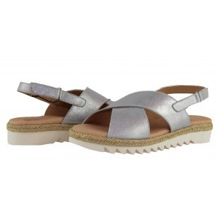 Дамски анатомични сандали от естествена кожа Capricе сребристи