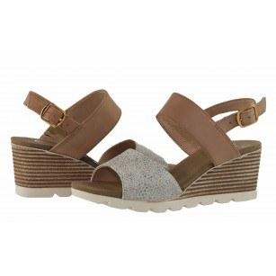 Дамски сандали на платформа естествена кожа Caprice сребристи/кафяви