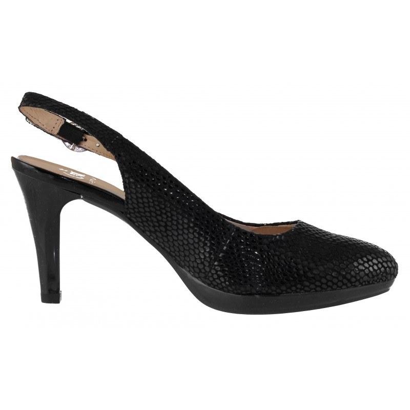 Дамски елегантни сандали Caprice естествена кожа черни принт