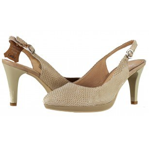 Дамски елегантни сандали Caprice естествена кожа бежови принт