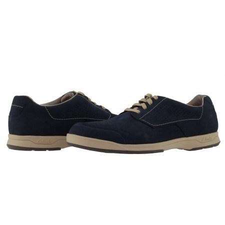 Мъжки кожени обувки с връзки Clarks Stafford Plan сини набук