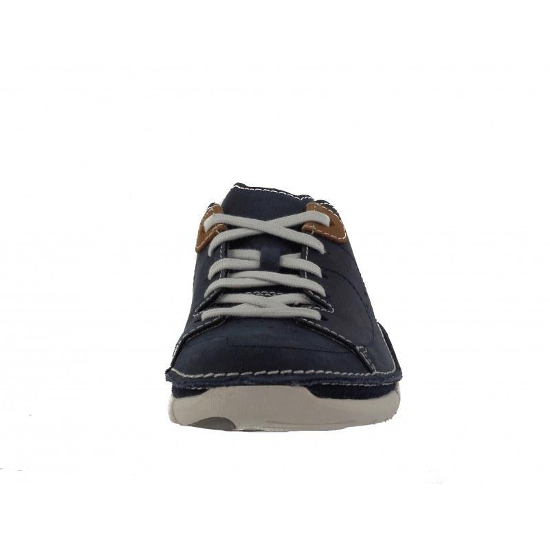 Мъжки кожени обувки с връзки Clarks Trikeyon Mix сини