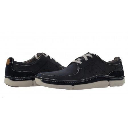 Мъжки кожени обувки с връзки Clarks Trikeyon Fly сини
