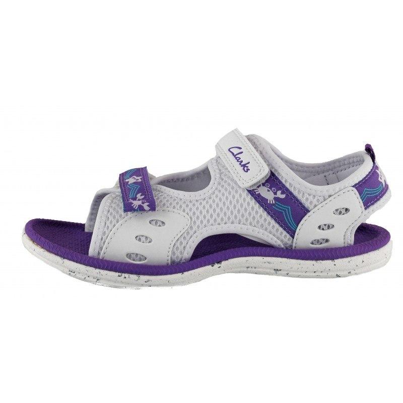 Детски анатомични сандали Clarks Star Games 26/30 бели/лилави