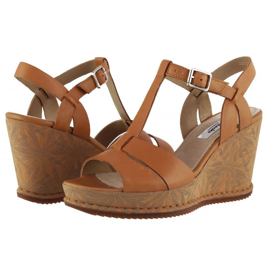 Дамски сандали на платформа Clarks Adesha River естествена кожа св. кафяви