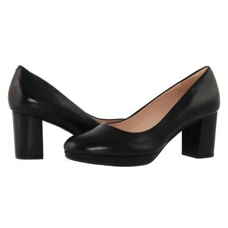 Дамски обувки на висок ток Clarks естествена кожа черни Kelda Hope