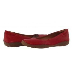 Дамски червени равни обувки от естествена кожа Clarks Autumn Sun