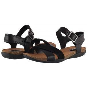 Дамски анатомични сандали Clarks Autumn Air естествена кожа черни