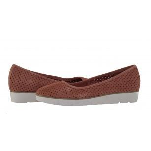 Дамски перфорирани равни обувки Clarks Evie Buzz розови естествена кожа