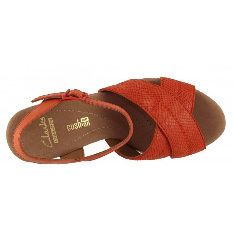 Дамски сандали на платформа Clarks Helio Latitude естествена кожа оранжеви