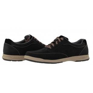 Мъжки кожени обувки с връзки Clarks Stafford Park черни набук