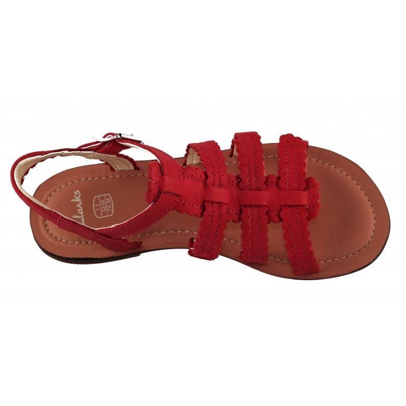 Детски сандали за момиче Clarks Loni Moon Jnr естествена кожа червени