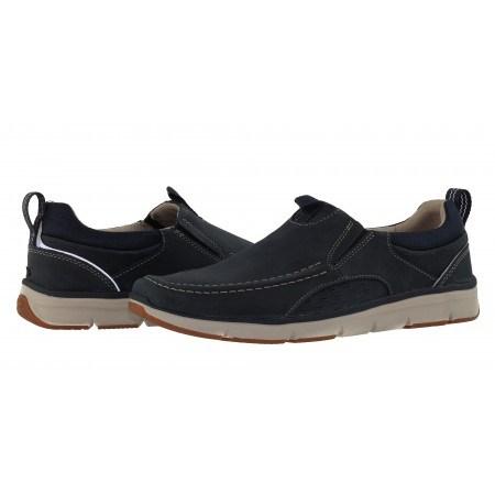 Мъжки спортни обувки без връзки естествена кожа Clarks Orson Row сини