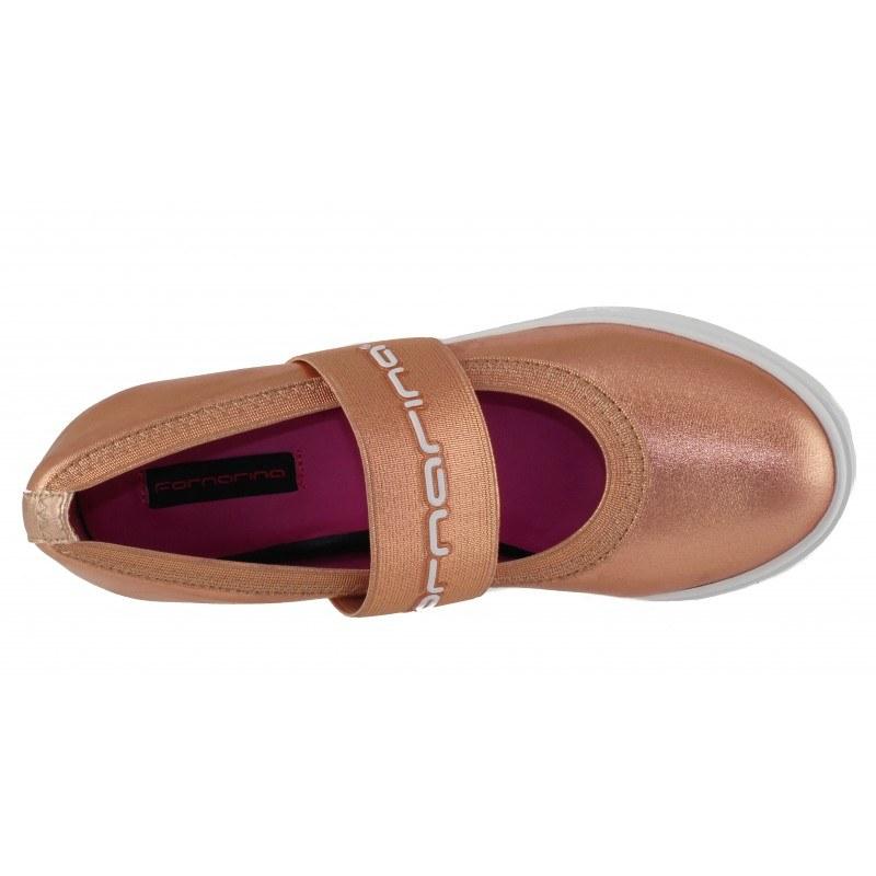 Дамски обувки на платформа Fornarina оранжев металик