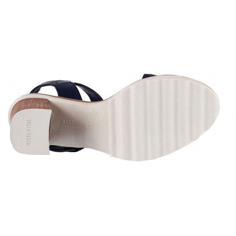 Дамски сандали на ток Hispanitas естествена кожа сини