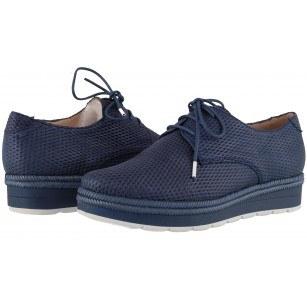 Дамски кожени обувки на платформа Hispanitas сини