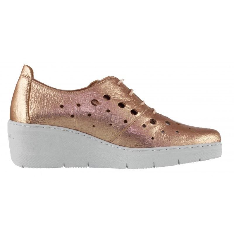 Дамски обувки на платформа Hispanitas естествена кожа розов металик
