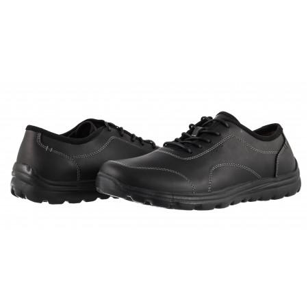Мъжки обувки от естествена кожа с връзки Mania черни