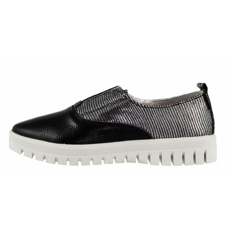 Дамски равни обувки от естествена кожа Mania черни/сребристи