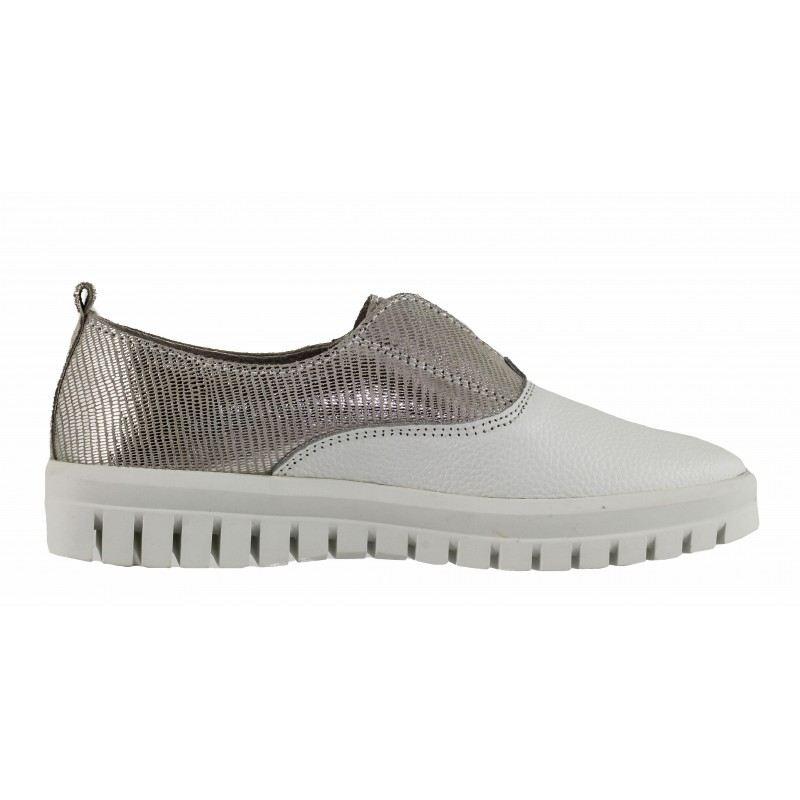Дамски равни обувки от естествена кожа Mania бели/сребристи