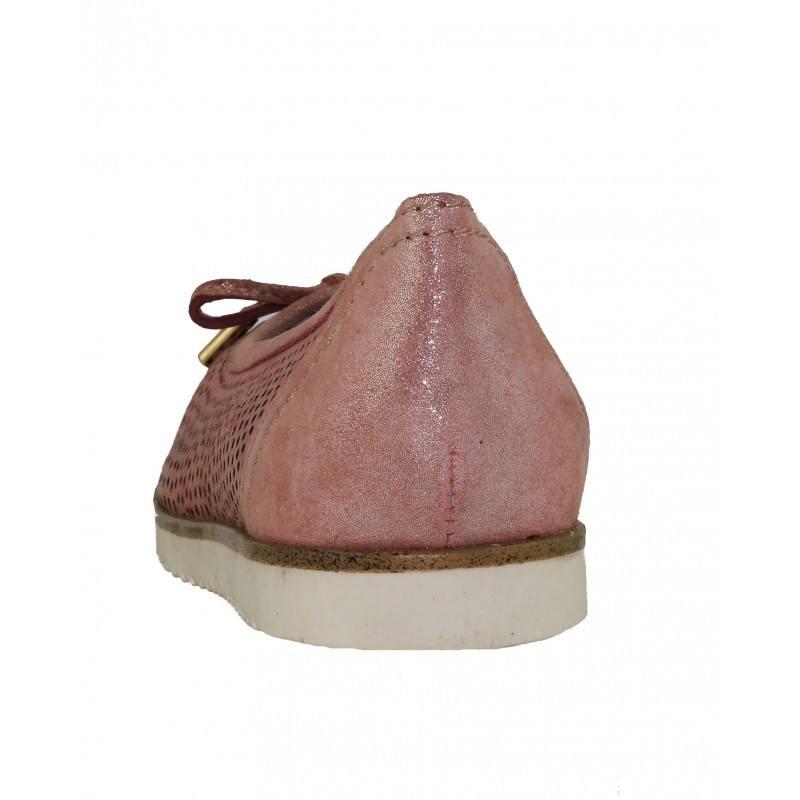 Дамски равни обувки балерина Marco Tozzi перфорирани розови мемори пяна