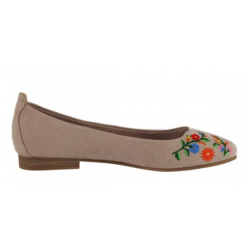 Дамски равни обувки балерина Marco Tozzi бежови етно