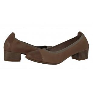 Дамски бежови обувки на среден ток Marco Tozzi естествена кожа мемори пяна