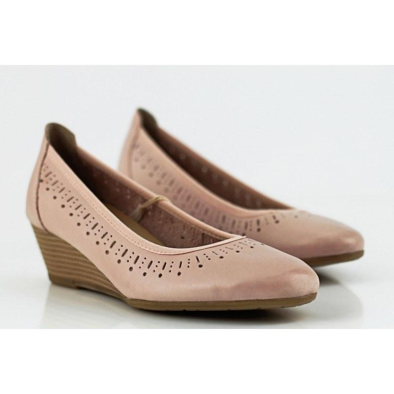 Дамски обувки на холдански ток естествена кожа Marco Tozzi розови