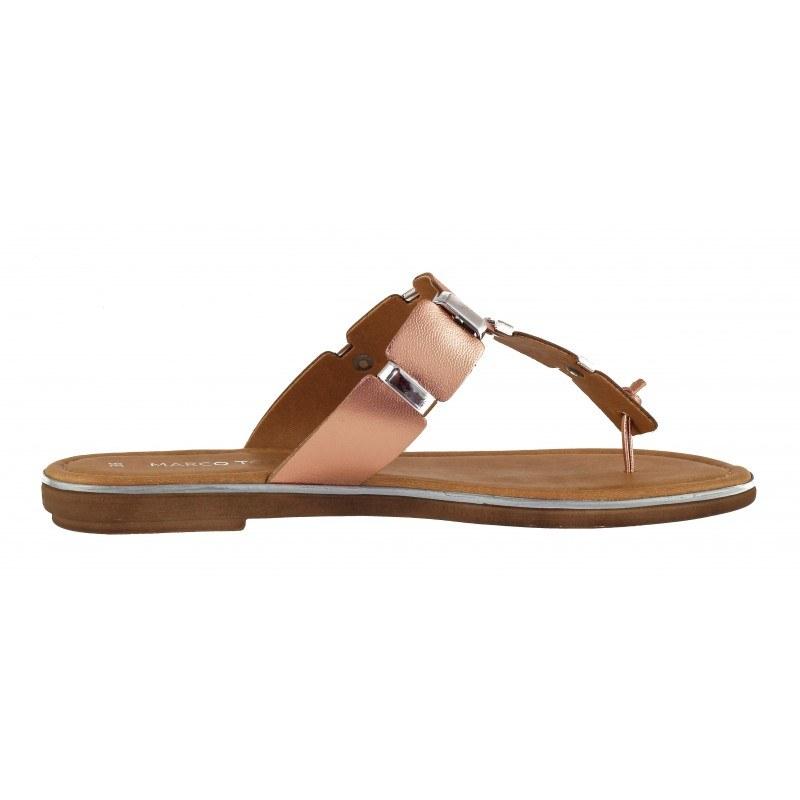 Дамски чехли от естествена кожа Marco Tozzi розов металик