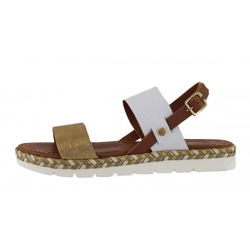 Дамски равни сандали от естествена кожа Marco Tozzi бели/кафяви