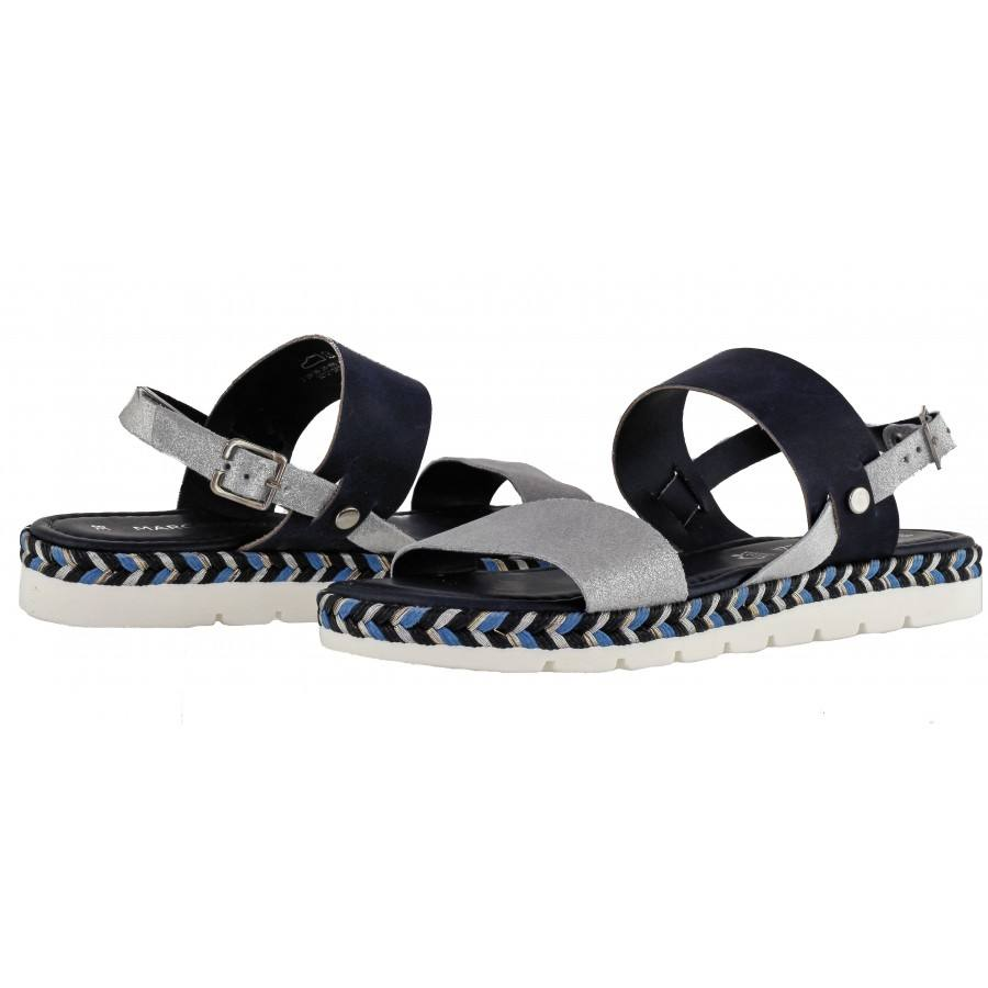 Дамски равни сандали от естествена кожа Marco Tozzi черни/сребристи