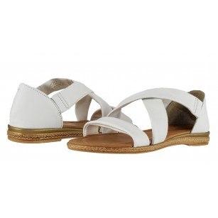 Дамски равни сандали Marco Tozzi естествена кожа бели