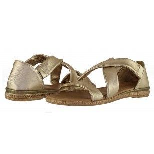 Дамски равни сандали Marco Tozzi естествена кожа златисти