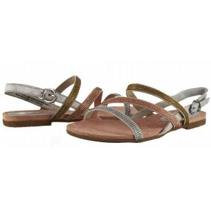 Дамски анатомични сандали Marco Tozzi сиви/камъни