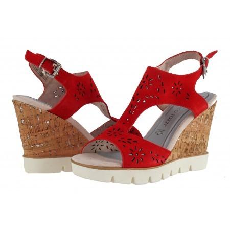 Дамски сандали на платформа Marco Tozzi червени мемори пяна
