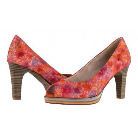 Елегантни дамски обувки на висок ток Marco Tozzi отворени червени