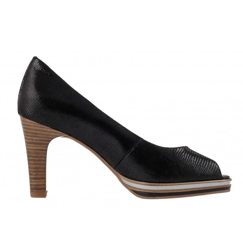 Елегантни дамски обувки на висок ток Marco Tozzi отворени черни