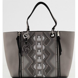 Дамска чанта Marina Galanti® Firenze сива/черна Quattro Patent комбинация