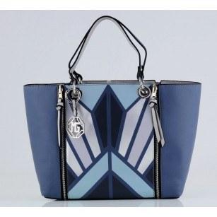 Дамска голяма чанта Marina Galanti® Firenze синя Quattro Patent комбинация