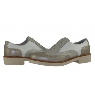 Дамски италиански обувки с връзки естествена кожа Nero Giardini бежови комби