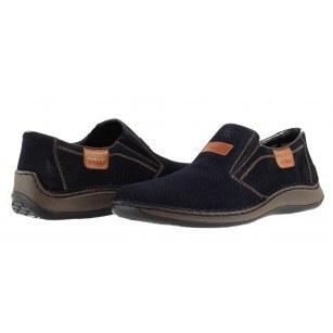 Мъжки пролетни обувки от естествена кожа Rieker сини