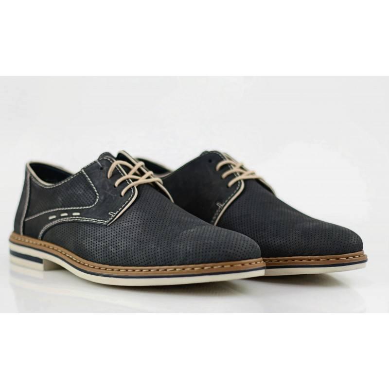 Мъжки спортно-елегантни обувки с връзки Rieker естествена кожа сини
