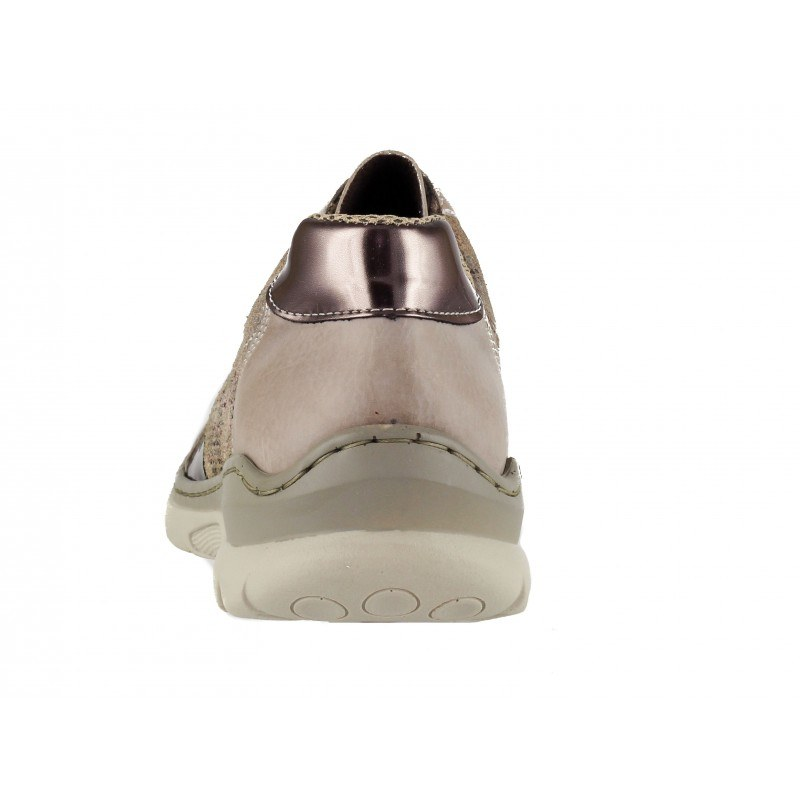 Дамски спортни обувки естествена кожа Rieker ANTISTRESS MemoSoft бежови/принт