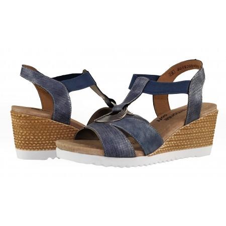 Дамски сандали на платформа Remonte сини