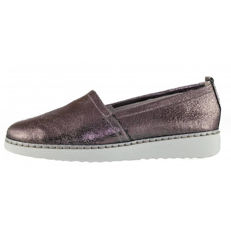 Дамски равни обувки от естествена кожа Remonte мемори пяна розов металик