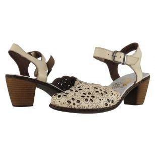 Дамски сандали на среден ток Rieker бежови естествена кожа