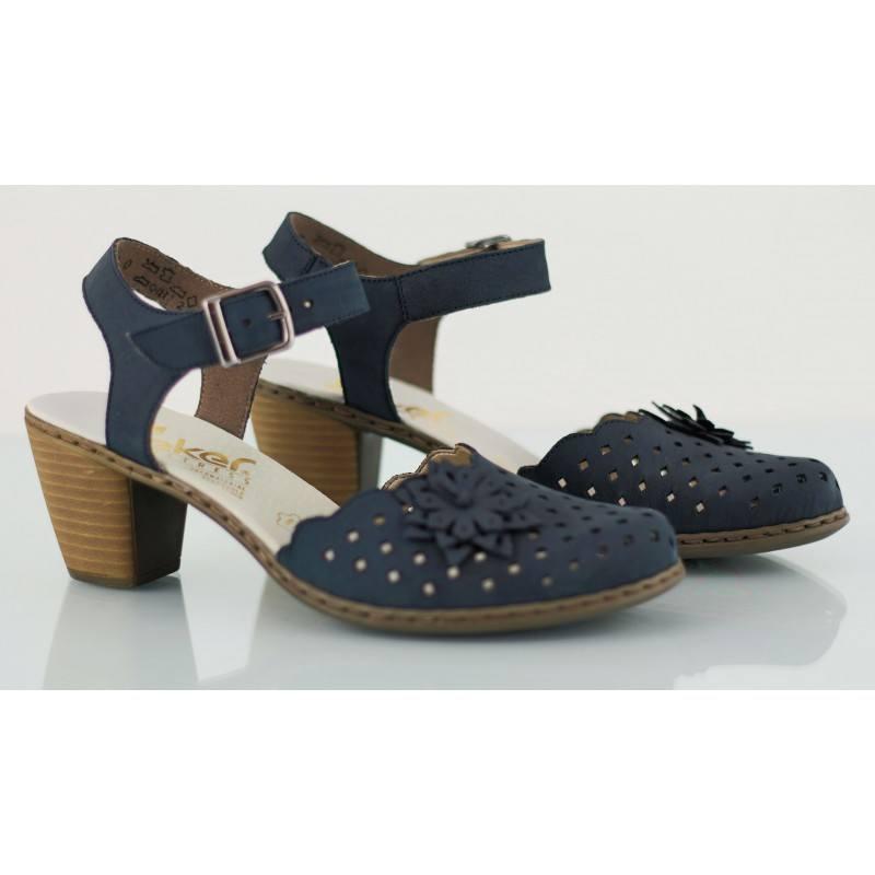 Дамски сандали на среден ток Rieker сини естествена кожа
