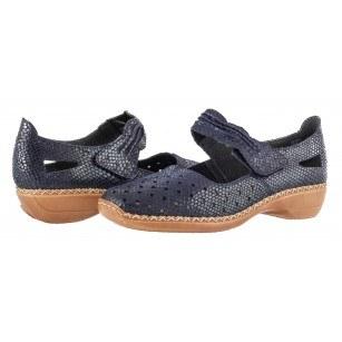 Дамски анатомични обувки от естествена кожа Rieker 41337-14 сини
